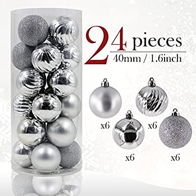 Valery Madelyn 24 Pieces 40mm Shatterproof Christmas Tree Baubles Ball Ornaments Decorations for Holiday Wedding Party