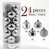 Valery Madelyn 24 Pieces 40mm Frozen Winter Silver Shatterproof Christmas Tree Baubles Ball Ornaments Decorations for Holiday Wedding Party, String Pre-Tied