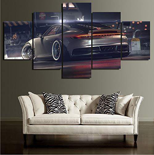 mmbj Leinwand Poster Wohnkultur Wandkunst 5 Stücke Porsche Gemälde Für Wohnzimmer HD Druckt Moderne Auto Bilder 30x40cmx2 30x60cmx2 30x80cmx1 Rahmen