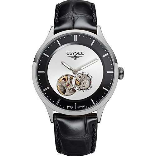 ELYSEE Men's Nestor 40mm Black Leather Band Steel Case Automatic Multicolor Dial Analog Watch 15101