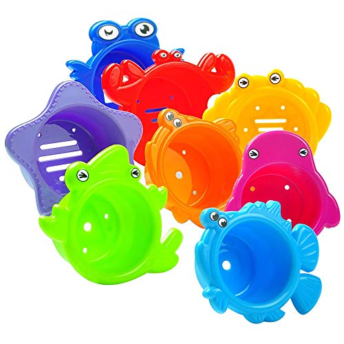 Verschiedene Spielwerkzeuge Bad stapeln Tassen, 8 Pack pädagogische Bad Spielzeug bunt farbigen Tassen leicht stapelbar Nesting Kleinkinder Babys