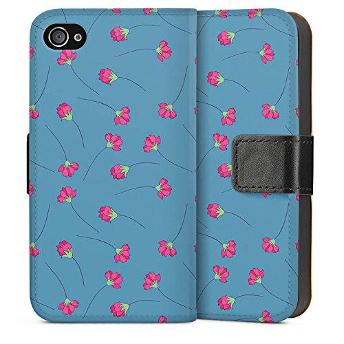 Apple iPhone 4 Housse Étui Silicone Coque Protection Fleurs Fleurs Bleu Sideflip Sac