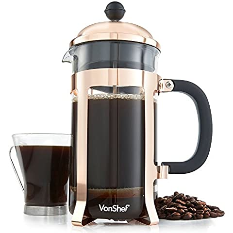 VonShef Copper Cafetiere 8 Cup/1 Litre French Press Glass Coffee Maker