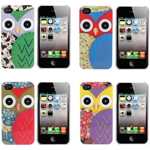 Colorida elegante de plástico Owl Cartoon estuche rígido para iPhone 4 4S.