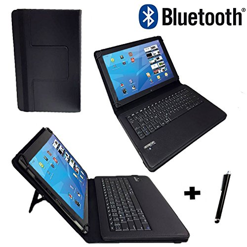 Allview Viva H1001 LTE - Qwertz Tastatur Tablet Tasche 10.1 mit Standfunktion - Deutsche Tastenbelegung - 10.1 Zoll Schwarz Bluetooth Tastatur