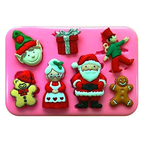 Mr & Mrs Claus Vater Weihnachten Elf Spielzeug Shop Silikon Silikonform für Kuchen dekorieren KUCHEN, Cupcake Topper Zuckerguss Sugarcraft von Fairie, Blessings