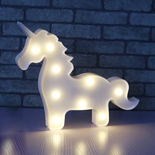 AIZESI Einhorn Form Animal Licht Tisch Lampe 3D Festzelt Einhorn Schild Festzelt Buchstabe Nachtlicht Home Dekoration batteriebetrieben (Weißes Einhorn) (Home Schilder)