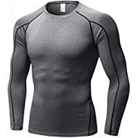 Yuerlian Men's Running Long Sleeve Tops, Gym Cool Dry Compression Base Layer Shirts, Sports Workout Tops for Men