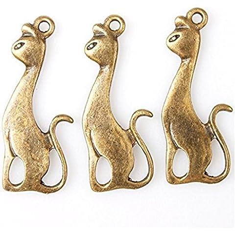 60x gatto Charms animale Bronze pendenti della lega risultati misura gioielli fai da te