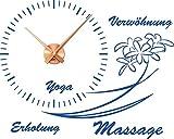 Wandtattoo Uhr mit Uhrwerk Wanduhr Wohnzimmer Wellness Badezimmer (Uhrwerk kupfer//052 azurblau)