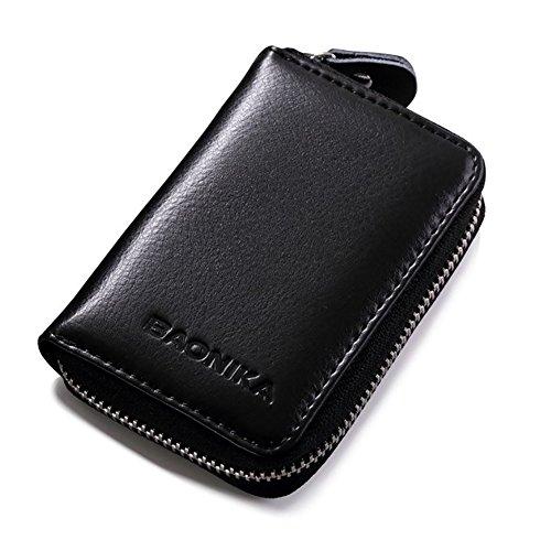 Características:   Baonika - Calidad superiorCon la función RFID Blocking  9 ranura para tarjetas  eazy cremallera cerrada  Dimensiones: 10.5x7.5x2.5cm  Color: Negro  Piel genuina  Gran detalle y bueno para su colección personal.  Te hace más confian...