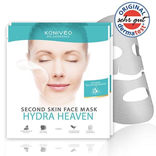 """Premium Tuchmasken Sheet Masken mit Dermatest-Note """"Sehr Gut"""". Hyaluron Feuchtigkeits Gesicht Vliesmasken ohne Abwaschen von Konivéo. 100% ohne Parabene & Alkohol (2 x 1 Stück Spar Set)"""
