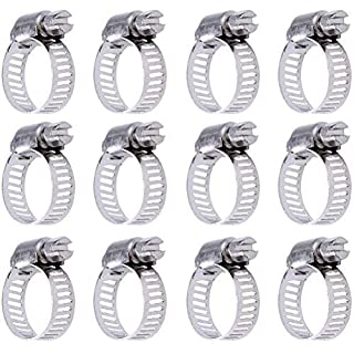 Siming 12 Pack Worm Drive Clamps Jubilee Clip, 9-16 mm Diameter Adjustable Stainless Steel Pipe Hose Clamp Hoops