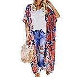 WWricotta Women Chiffon Flower Print Long Coat Tops Suit Kimono Cover Beach Smock(Rosa,XL)