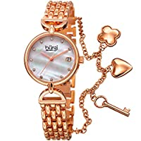 Burgi Women's White Dial Stainless Steel Band Watch - BUR172RG