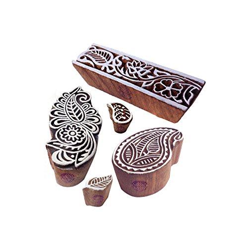 Motif Paisley und Damast Holz Drucken Blöcke (Set von 5) ()