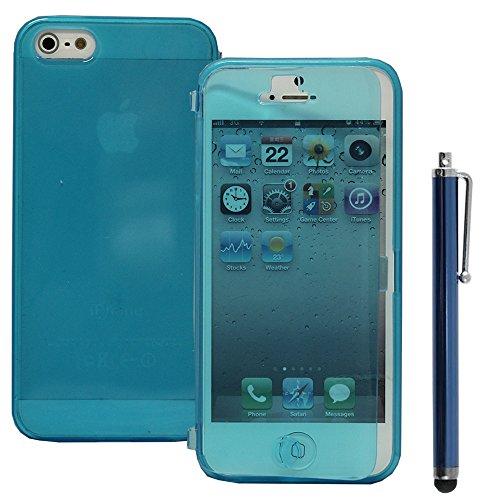 VComp-Shop® Silikon Handy Schutzhülle mit Klappe für Apple iPhone 5/ 5S/ SE + Großer Eingabestift - VIOLETT HELLBLAU + Großer Eingabestift