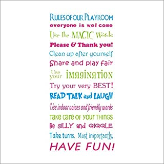 AWAKINK English House Rules Playroom Rules Colorful Quote Wall Stickers E-Cro friendly Vinyl Wall Sticker Home Decoration Wall Lettering Saying Quotes Stickers Uplifting DIY Decor