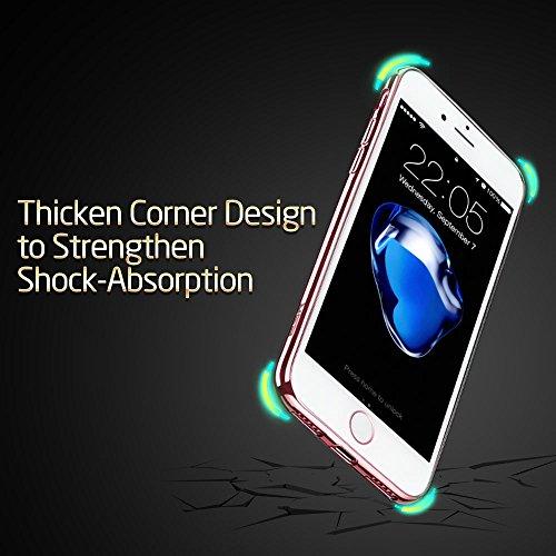 iPhone 7 Plus Hülle (5,5 Zoll), ESR® Twinkler Series [0.8mm Dünne] Weiche Silikon Hülle Transparent TPU Zurück mit Überzug Farbig Rahmen Schutzhülle für iPhone 7 Plus (Champagner Gold) Roségold