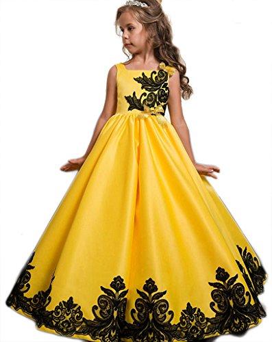 Eudolah Blumenmaedchen Taft und Spitze Kleid Kinder Maedchen Kleid festlich Party Kleid Festzug Hochzeit Gelb Gr.150 (Brautjungfer Kleider Taft)