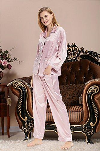 Aibrou Damen Schlafanzug Satin V Kragen Morgenmantel Schlafanzug-Set Klassische Typ Pyjama Rosa