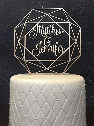 Tobti6ob Benutzerdefinierte Namen Cake Topper Hochzeitstorte Topper geometrische Cake Topper geometrische Hochzeit Benutzerdefinierte geometrische Hochzeitstorte Topper benutzerdefinierte Namen