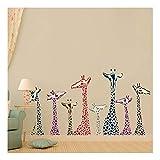 QTZJYLW Kreative Persönlichkeit Farbige Giraffe Muster Wandaufkleber Wohnzimmer Dekoration Pvc Aufkleber (50 × 70 Cm 2St)