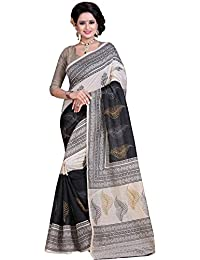 Aarvicouture Women's Bhagalpuri Art Silk Saree With Blouse Piece (Aarviart09_Black And White)