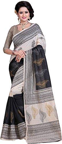 J B Fashion Bhagalpuri Saree With Blouse Piece(H-Saree For Women-Anushka-White_Beige Free Size)