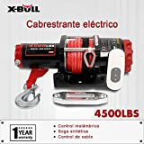 X-BULL 12V Verricelli Elettrici Corda Sintetica 4500LBS/2041KG Electric Winch 10 Meters Wireless ATV 4WD