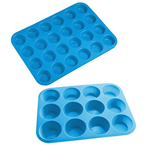 sanbadao Finger Ring 22Muffin Cupcake Backform, 12und 24Cup Größen, Blau, 2Pack Silikon 12 Cup Muffin Pan