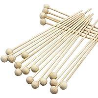Palillos de madera natural para tartas con extremo de bola de madera y varillas de 15 cm de longitud, 100 unidades