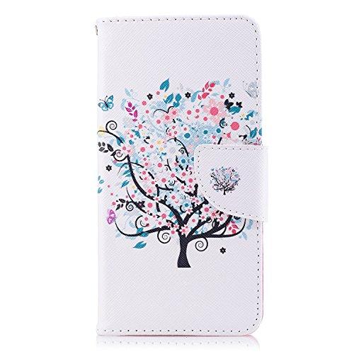 Huawei P9 Lite Mini / Y6 Pro 2017 Hülle, Chreey Bunt Gemalt Magnetverschluss Flip Wallet Handyhülle PU Lederhülle Bookstyle Brieftasche Kreditkarte Etui Schutzhülle [Blumen Baum]