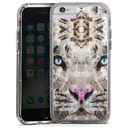 Apple iPhone 6s Bumper Hülle Bumper Case Glitzer Hülle Kristall Crystal Tiger Bumper Case Glitzer rose gold
