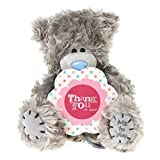 "Me to You, Tatty Teddy, Grey Teddy Bear Holding A Wooden, 'Thank You' Plaque, Sits 6"" Tall"