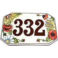 CERAMICHE D'ARTE PARRINI- Ceramica italiana artistica numero civico in ceramica 20x13 personalizzato decorazione girasole ,spina di grano e papaveri mattonella fatta a mano made in ITALY Toscana