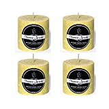 Set Of 4 Yellow Crystal Pillar Candle By Numen Spark | Candles For Decoration | Candles For Bedroom | Candles Decorations For Living Room
