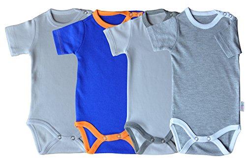 Kurzarm-Babybodys 4er Pack weiss, weiss/grau, grau/weiss & blau/orange Grösse 86 Body Unisex aus 100% Baumwolle mit Druckknöpfen