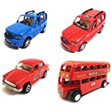 Combo Of 4 Vehicle Toys | Scorpio Car, Scorpio Car, Ambassador Car And Double Decker Bus | Toys For Kids |Toys For Show Piece | Miniature/Model Car Toys |Pull Back And Go | Openable Doors | Blue, Red, Red And Red Color| Set Of 4 Toys