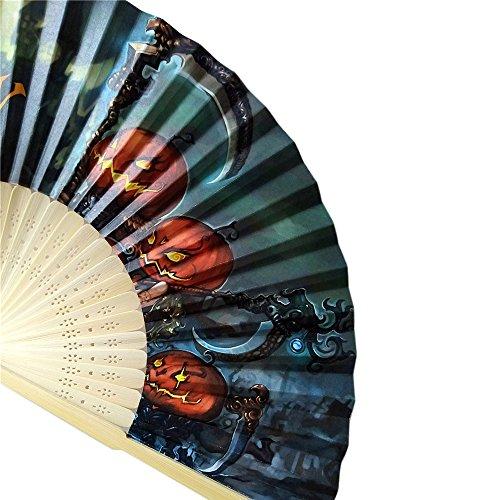 XNBZW Halloween Kürbis Schädel Spinne Hexe Hand Geschnitzte Bambus #0705H# Faltfächer Stil Holz(C)