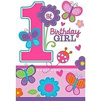 Amscan, Set di 8 biglietti di invito per 1° compleanno, per femminuccia, incl. buste, 10,8 x 15,7 cm - Compleanno Banner Misure