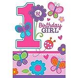 Amscan Einladungskarten für den ersten Geburtstag, Motiv: Sweet Girl