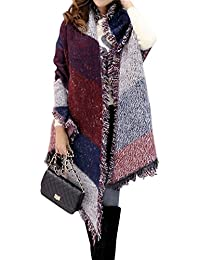 483e67ee2b77 Minetom Surdimensionné Vintage Echarpe Carreaux Lady Femme Foulard Châle  Cape Frange Automne Hiver Chaud Cadeau Noël