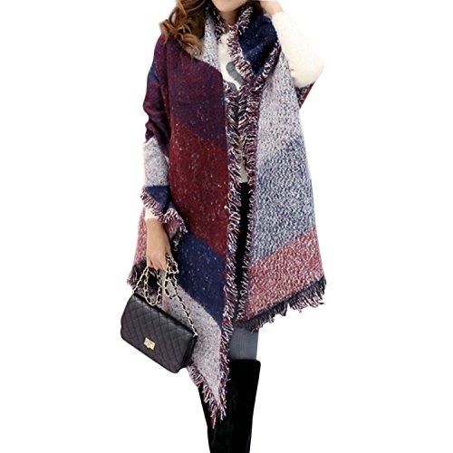 Minetom Donne Ragazze Moda Autunno Inverno Caldo Plaid Sciarpa Scialle