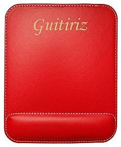 informatica guitiriz: Almohadilla de cuero sintético de ratón personalizado con el texto: Guitiriz (ci...