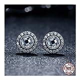 MWTWM Sterling Silber Ohrringe Brillant Diamant Ohrringe Crystal Rund Classic Temperament Kostbaren, Weiß
