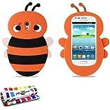 Coque Souple Ultra-Slim SAMSUNG GALAXY S3 MINI ( I8190 ) [L'Abeille Premium] [Orange] de MUZZANO + STYLET et CHIFFON MUZZANO® OFFERTS - La Protection Antichoc ULTIME, ELEGANTE ET DURABLE pour votre SAMSUNG GALAXY S3 MINI ( I8190 )