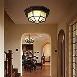 Deckenleuchte Vintage Deckenlampe Balkon Licht Außen Flur Lampe Küche Eingang Korridor Foyer Treppen Vorraum Antik Beleuchtung Retro Achteckige Leuchte Aluminium Glas Schirm Ø23cm 1 flammig E27 Bulb