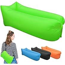 Inflable tumbona, sofá sofá de dormir camas de aire portátil para viajes, Camping, playa, Parque, Patio, verde
