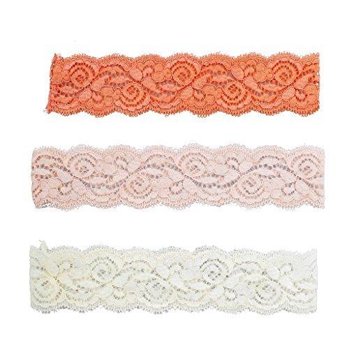 LUX Zubehör Orange Rosa und Elfenbein Spitze Applikation Stretch Stirnband Pack 3